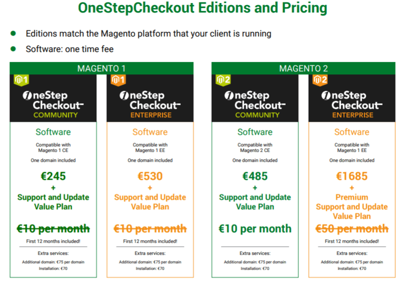 shipping and payment features from OneStepCheckout